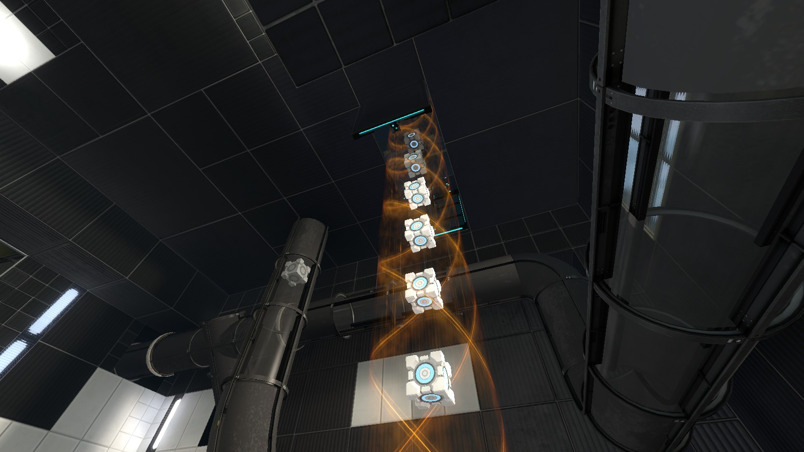 Tractor beam transporting some cubes